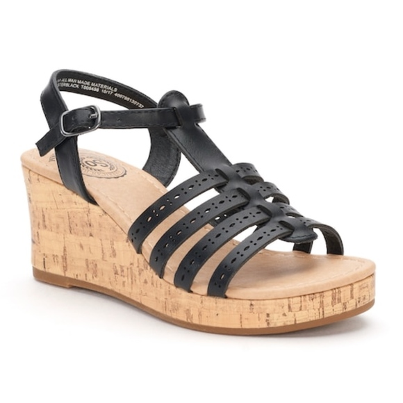 So Kohls Shoes | Girls Black Cork Wedge